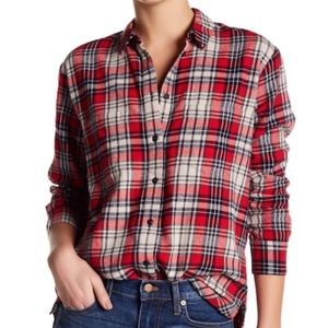Madewell • Red Cream Oversized Plaid Flannel